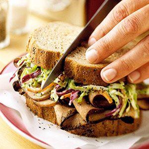 Pumpernickel Rye Bread + Roast Beef + Coleslaw = One Amazing Sandwich