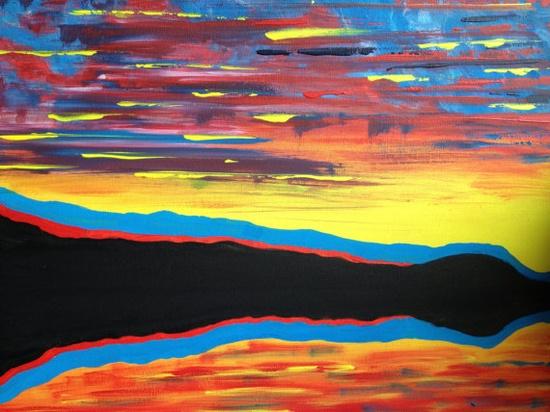 IDYLLICOriginal imaginary acrylic landscape painting by EmmaJLock, £35.00