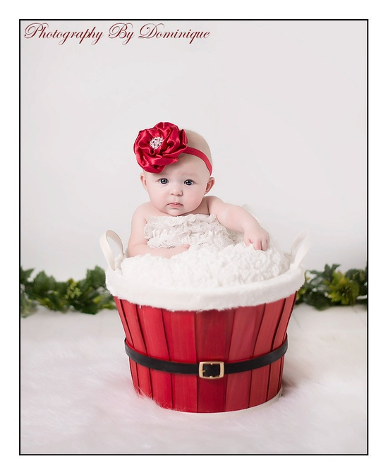 Adorable Christmas baby photo! You could change the basket for different seasons.