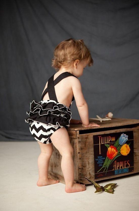 yes PLEASE. #romper #child #kid #baby #chevron #black #white #blackandwhite #ruffles #clothes #fashion #etsy #playsuit