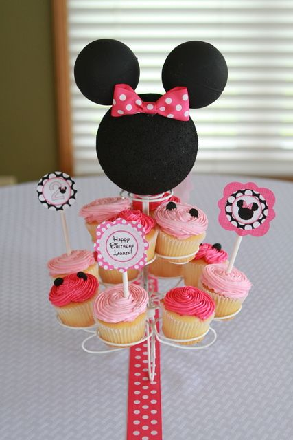 Cupcake at a Minnie Mouse Party #Minniemouse #partycupcakes