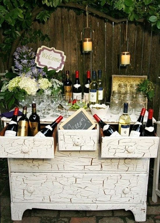 Wedding Drink Station Ideas - wine themed wedding bar