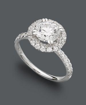 Arabella 14k White Gold Ring, Swarovski Zirconia Round Pave Engagement Ring