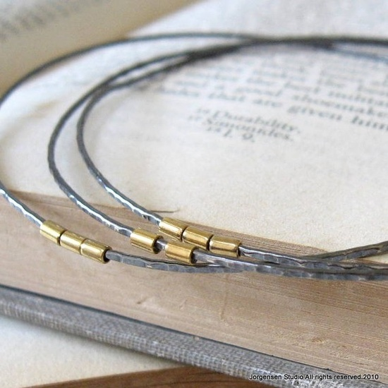 Oxidized Hammered Silver and Gold Bangles Plus size