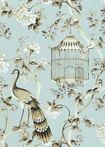 Oiseaux et Fleurs Mineral Wallpaper