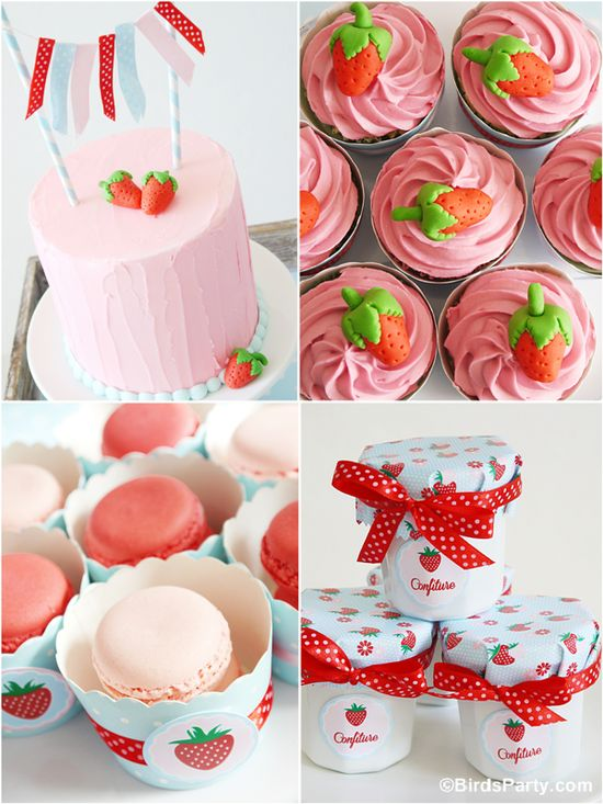 DIY Strawberry Themed Desserts Table  with Recipes by Bird's Party  #birthdays #partyideas #strawberry #recipes #baking #summerparties #eyecandy