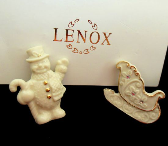 Vintage Christmas Brooch Lenox China Snowman and by Ladysfancys, $17.00