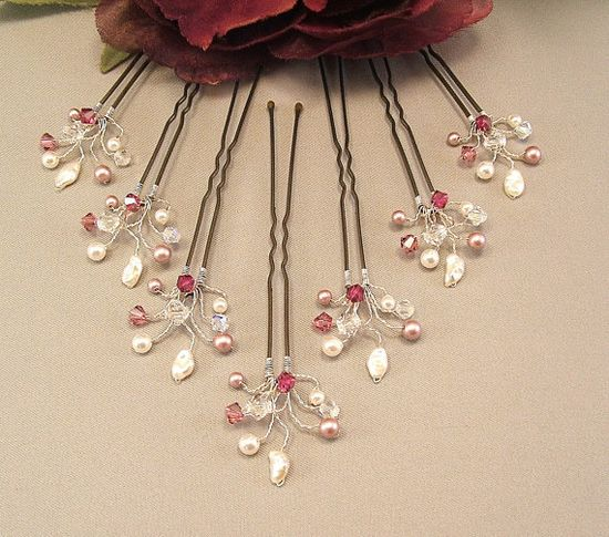 Wedding Hair Accessories Dusty Rose Fuchsia Blend by Handwired, $35.00