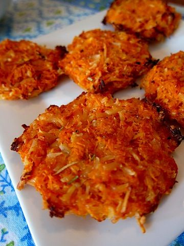 Gourmet version of the Traditional Potato Latke. Sweet Potato! - 2 sweet potatoes 1/2 cup egg whites 1 cup Parmesan cheese 1/2 teaspoon rosemary 1/4 teaspoon pepper.