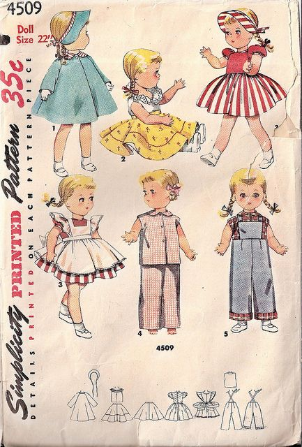 Talk a vintage cuteness overload!!! :) #doll #clothing #toys #children #vintage #sewing #pattern #retro #1950s #fifties #dress