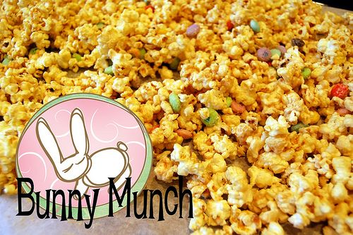 Bunny Munch -  - popcorn, peanut butter, white chocolate and Reese's pieces.