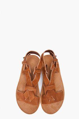 //\\ MAISON MARTIN MARGIELA Tan Leather sandals