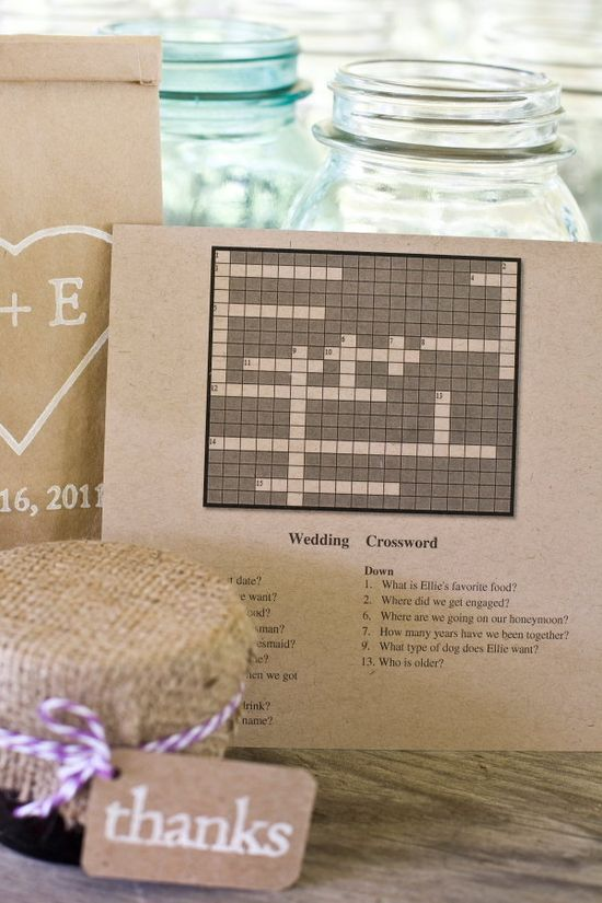 wedding crossword...maybe this plus mad libs photocopied for those waiting for ceremony to start (along with programs?)