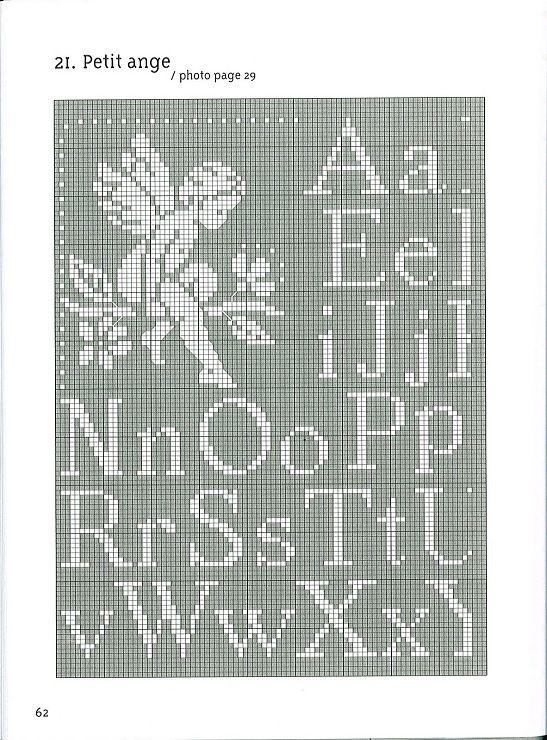Cupid Angel Alphabet Cross Stitch - AGNES DELAGE-CALVET ET ANNE SOHIER-FOURNEL Anges Motifs de broderie traditionnelle et au point de croix