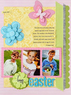Easter Portraits Page #scrapbook #layout #simple #pink #yellow #green