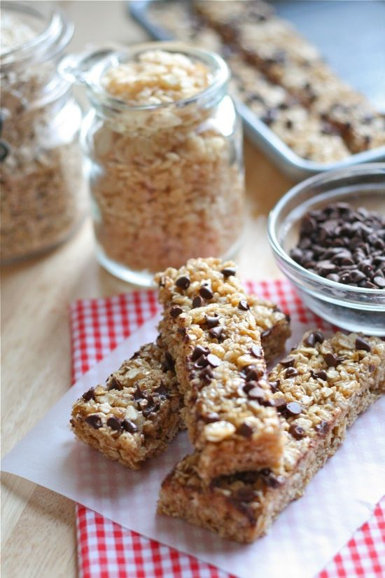 No-Bake Chocolate Chip Granola Bars  1/4 cup butter  1/4 cup honey  1/3 cup packed brown sugar  2 cups quick cooking oats {not rolled oats!}  1 cup crispy rice cereal  1/2 teaspoon vanilla  2 tablespoons mini chocolate chips