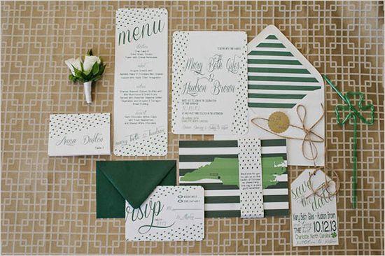 green wedding invites