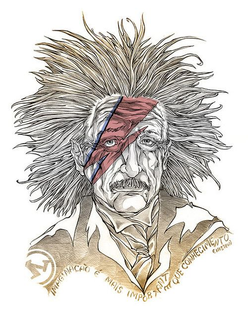 heyoscarwilde:    John, I'm Only Dancing  Bowie/Einstein illustrated by Eddie Gomez :: via eddie_gomez