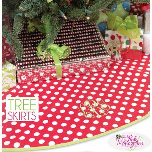 Monogrammed Happy Holiday Print Christmas Tree Skirt  Home & Garden > Decor > Seasonal & Holiday Decorations > Christmas Tree Skirts