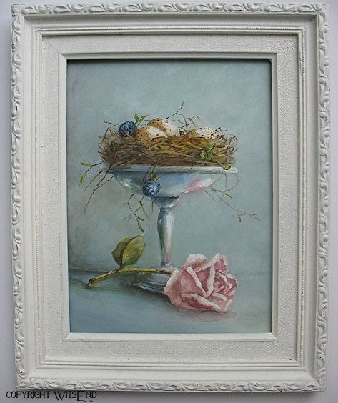 """Natural Sweetness"", Nest Roses painting includes vintage frame original still life by 4WitsEnd, via Etsy  SOLD"