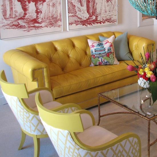 Claybourne Yellow Leather Sofa- Layla Grayce. So pretty!
