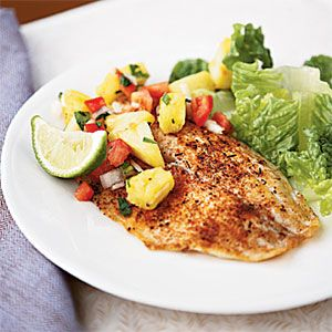 Spicy Tilapia with Pineapple-Pepper Relish | CookingLight.com #myplate #protein #fruit #vegetables