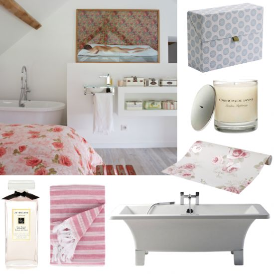 Hotel style bedroom and bathroom suite - Having a roll-top bath in the corner of your bedroom has to be the ultimate luxury. Create a boutique hotel style room in your own home with these luxurious accessories.