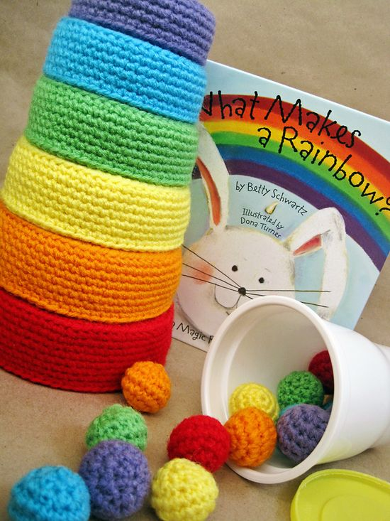 "Crochet Pattern: Rainbow Nesting Bowls (rewritten) goes with the ""Crochet P"