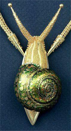 john paul miller.silver.snail necklace.18k gold, enamel
