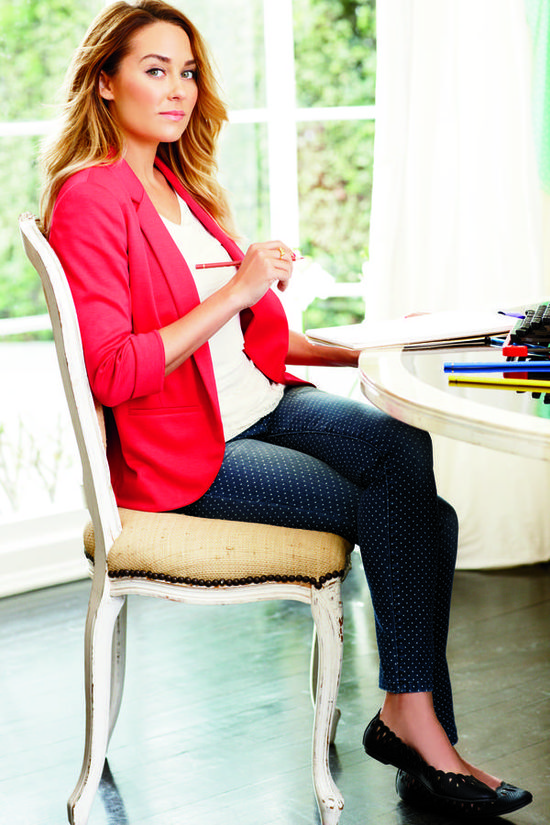 lc lauren conrad: red blazer, white top, skinny jeans + flats