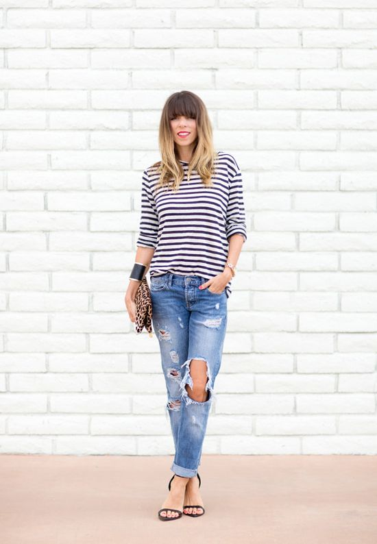 BOYFRIEND JEANS AND STRIPES - a house in the hills