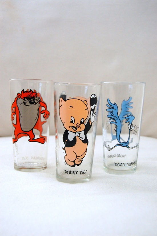 Vintage 1973 Pepsi Cartoon Glasses.  Tom has his from childhood. Several