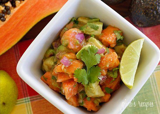 Papaya Avocado Salad by skinnytaste: Dressed with lime juice, red onion and cilantro, this salad takes you straight to the Caribbean! #Papaya_Avocado_Salad #skinnyeats
