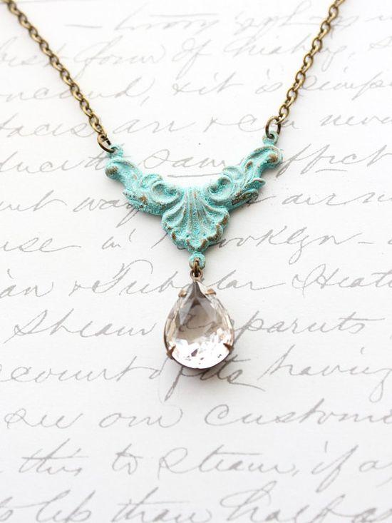 Patina Necklace Crystal Drop Pendant Verdigris by apocketofposies