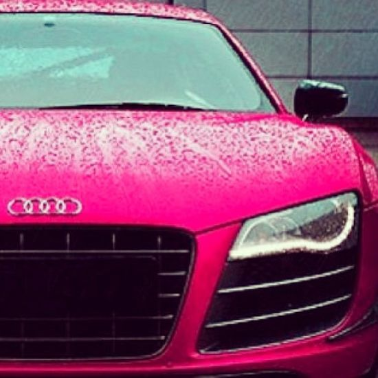 Pink Audi R8 looking mighty fine in the rain