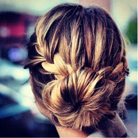 Love this braid & bun combo!