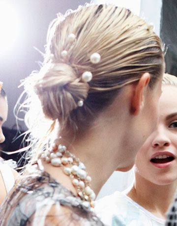 Mermaid pearl hairpins at Chanel    #beauty #hair #runwayinspired #updo #pearls #chanel
