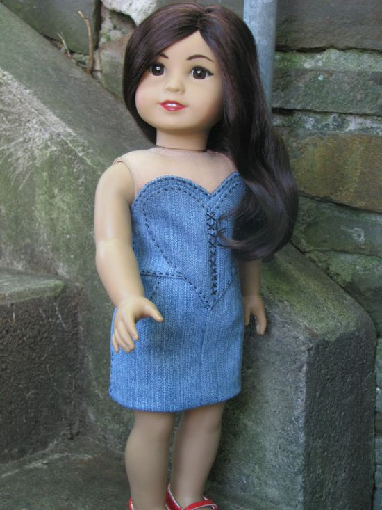 Not your usual denim doll dress.