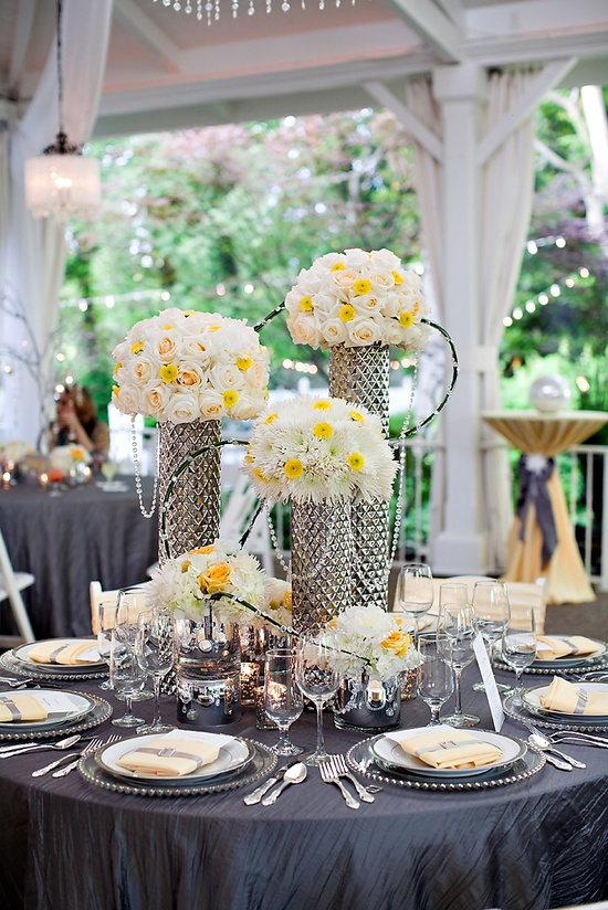 Grey and Yellow reception wedding flowers,  wedding decor, wedding flower centerpiece, wedding flower arrangement, add pic source on comment and we will update it. www.myfloweraffai... can create this beautiful wedding flower look.     Photo: Phindy Studios