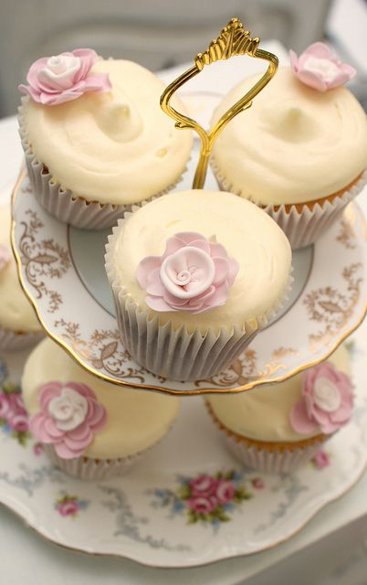Marvelously elegant Afternoon Tea Cupcakes. #tea #party #cupcakes #shabby #chic #pink #rose #wedding #food #cake #dessert