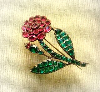 Rose spray hair-pin ornament, silver gilt with pastes, mid 18th century