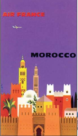 Old air France travel poster to Morocco