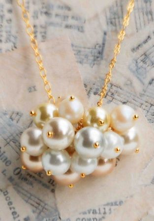 PEARL Cloud NECKLACE Glass PEARL Beaded by redtruckdesigns on Etsy