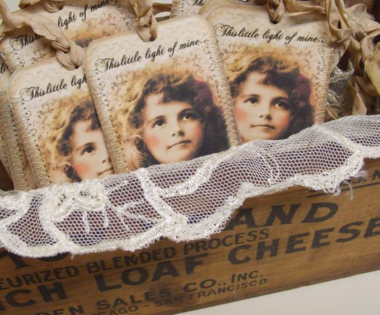Victorian Girl Vintage Style Hang Tags