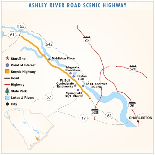 Ashley River National Scenic Byway (SC, USA).  The Ashley River National Scenic Byway is a national treasure. Few roads in the United States possess historic resources, scenic qualities and cultural resources of such stature in so compact an area.