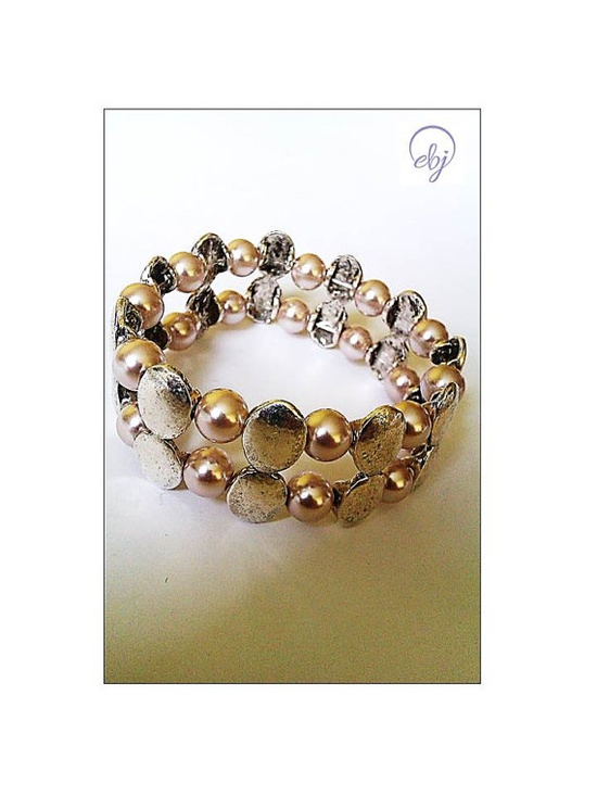 Light Brown Bead and Metal Bead Stretch Bracelet - Upcycled Jewellery, UK Jewellery Designer - £26.00