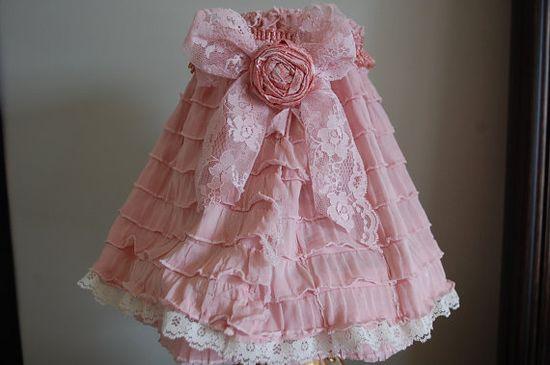 Shabby Chic pink and cream Ruffle Lampshade~?