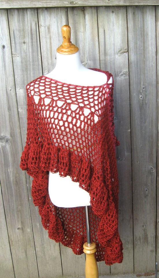 RED CIRCULAR VEST Crochet Fashion Poncho Capelet by marianavail, $50.00
