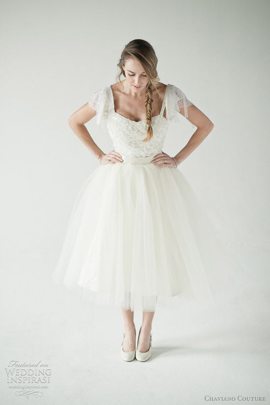 Rose tea length tulle dress by Chaviano Couture.