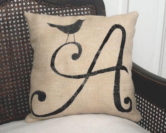 cute burlap pillow